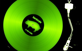 Обои music, пластинка, зеленая, club, hardstyle