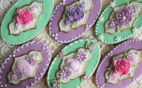 Картинка цветы, овальные, красиво, печенье, глазурь, винтаж