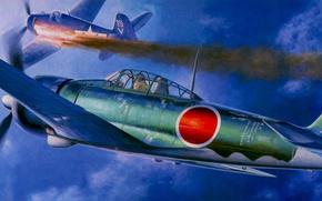 Картинка war, art, airplanes, painting, aviation, ww2, dogfight, Grumman F6F Hellcat, A6M3 Zero Type32 Tainan Flying …