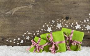 Картинка Новый Год, Рождество, подарки, Christmas, wood, snow, decoration, gifts
