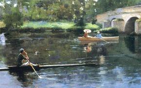 Картинка мост, парк, река, дамы, лодка, картина, зонт, прогулув, байдарка