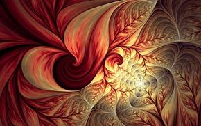 Картинка листья, абстракция, узоры, фрактал
