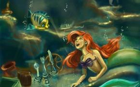 Обои арт, русалка, The little Mermaid, ариэль, ложки, рыбка, под водой, пузырьки, вилки, обстановка, подсвечник, русалочка, ...