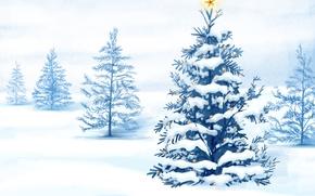 Картинка зима, снег, рисунок, новый год, Елка