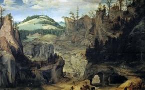 Картинка деревья, горы, люди, скалы, картина, Пейзаж с Пастухами, Cornelis van Dalem