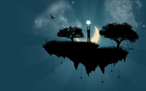 Обои вектор, деревья, луна, Остров