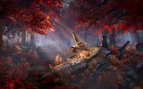 Обои осень, лес, деревья, корабль, арт, sci-fi