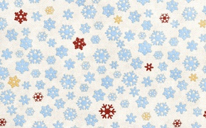 Обои снежинки, желтые, голубые, красные, белый фон, ткань