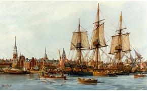 Картинка город, пристань, корабли, картина, живопись, painting