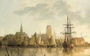 Картинка город, корабль, картина, парус, Альберт Якобс Кёйп, Вид Дордрехта на Закате