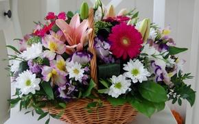 Картинка фото, Цветы, Корзинка, Букет, Герберы, Хризантемы, Лилии
