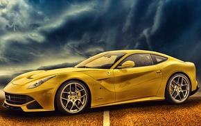 Картинка дорога, Ferrari, автомобиль, желтая, F12berlinetta
