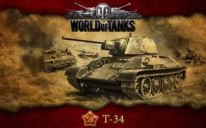 Картинка СССР, танки, Т-34, WoT, World of Tanks