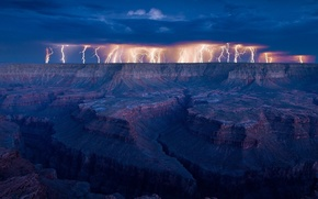Картинка USA, storm, sky, landscape, nature, lightning, Arizona, clouds, canyon, Grand Canyon, United States of America, …