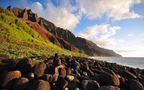 Картинка море, горы, камни