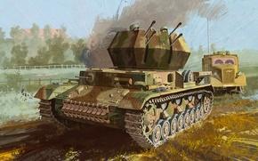 "Картинка war, art, painting, tank, ww2, flak, Flakpanzer IV Ausf.G ""Wirbelwind"""