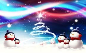 Обои елка, снег, снеговики