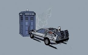 Обои авария, автомобиль, машины, Назад в будущее, ДеЛориан, Доктор Кто, ТАРДИС, полицейская, времени, будка