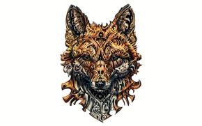 Обои fox, design, drawing, complicated