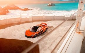 Картинка McLaren, Orange, Car, Front, Beauty, Sea, Supercar