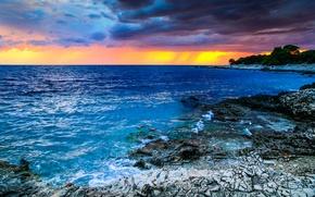 Обои Хорватия, побережье, море, облака, небо, горизонт, камни, закат