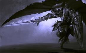 Картинка движение, меч, воин, арт, бег, щит, плащ, доспех