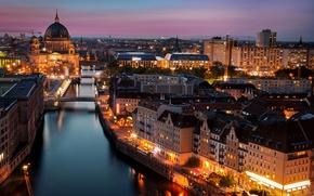 Картинка освещение, архитектура, город, огни, вечер, здания, река, Берлин, Шпрее, Berlin, Берлинский кафедральный собор, Berliner Dom, ...