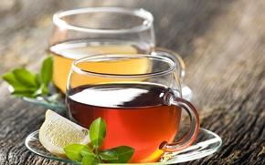 Обои лимон, чай, блюдца, чашки