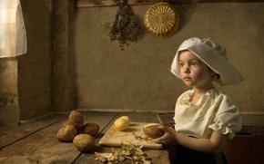 Картинка стилизация, девочка, повар, ренессанс, имитация, художественный стиль
