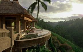 Картинка пейзаж, природа, дом, пальмы, House, Deck, Palm Trees, Tropical, Sunlight