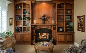 Картинка мебель, книги, камин, кабинет, столик, декор