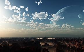 Картинка облака, скалы, планета, пирамиды, la verdad cósmica