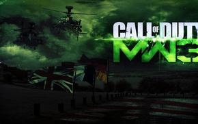 Обои небо, вертолеты, знамена, shooter, modern warfare 3