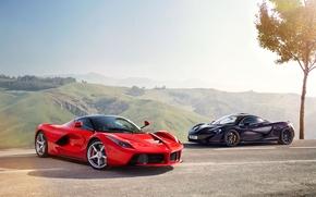 Обои McLaren, Moutian, Power, Red, Black, Ferrari, Sun, Road, Sky, Front, LaFerrari, Supercars, Lead