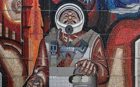 Обои космонавт, мозайка, Бендер, СССР