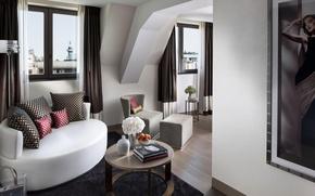 Обои белый, цветы, дизайн, стиль, комната, диван, книги, окна, интерьер, картина, кресло, подушки, коричневый, столик, гостиная