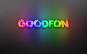 Обои фон, надпись, радуга, неон, goodfon, rainbow, background, neon, бэкграунд