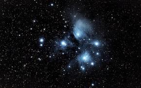Обои звёздное скопление, M45, Плеяды, в созвездии Тельца
