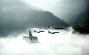 Картинка smoke, morning, aircrafts in the sky