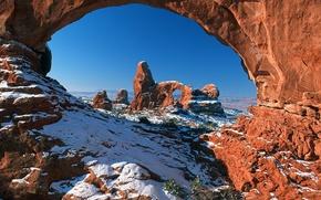 Картинка снег, арка, аризона