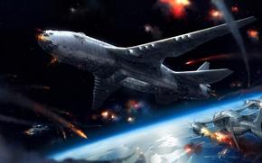 Картинка самолет, планета, корабли, арт, битва, Jae Cheol Park, косомс