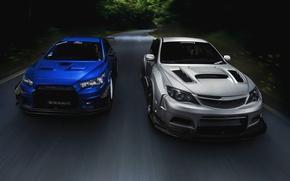Картинка Subaru, Impreza, Mitsubishi, Lancer, Evolution, road, blue, front, silvery, race car, обвес, STi