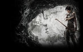 Картинка Игра, Пещера, Лук, Tomb Raider, Лара Крофт, Lara Croft, Расхитительница гробниц, Рана