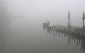 Картинка туман, берег, останки
