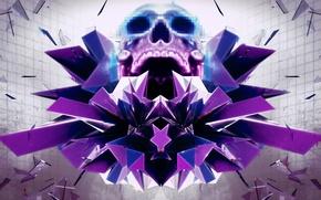 Картинка абстракция, череп, рендер, hq wallpaper