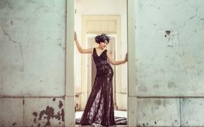 Картинка взгляд, стиль, фон, платье, азиатка