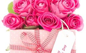 Картинка цветы, праздник, подарок, розы, бантик, коробочка