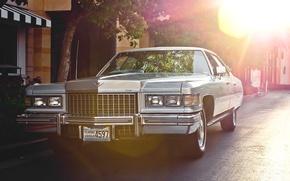 Картинка ретро, Cadillac, классика, передок, 1976, Sedan, De Ville