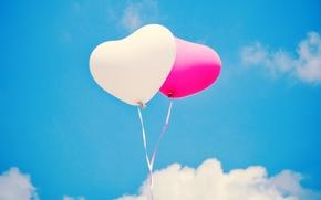 Картинка небо, шарики, шары, белое, сердца, розовое, воздушные