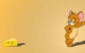 Обои оранжевый, желтый, минимализм, мышь, сыр, Том, мышонок, Джерри